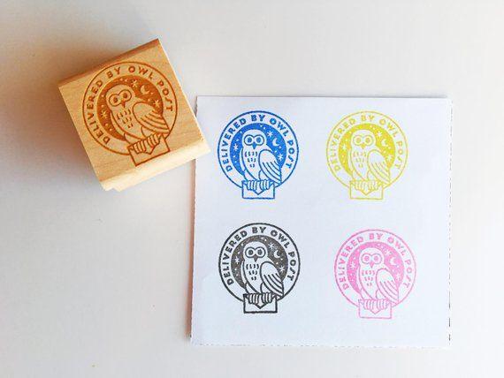 Delivered By Owl Post Rubber Stamp Ink Stamps Stamp Owl