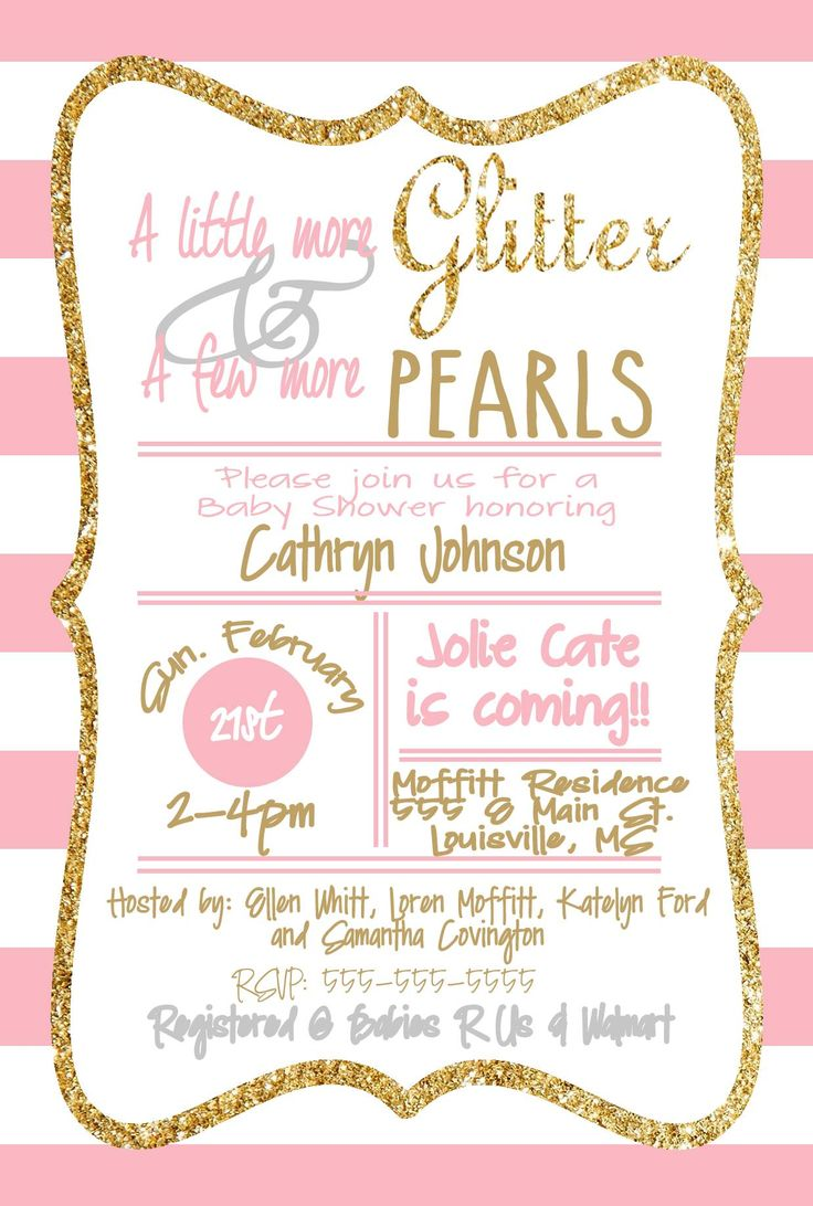 Baby Girl Shower Invitation!  Loren's Layouts. Glitter and Pearls. Pink. Gold. Stripes.