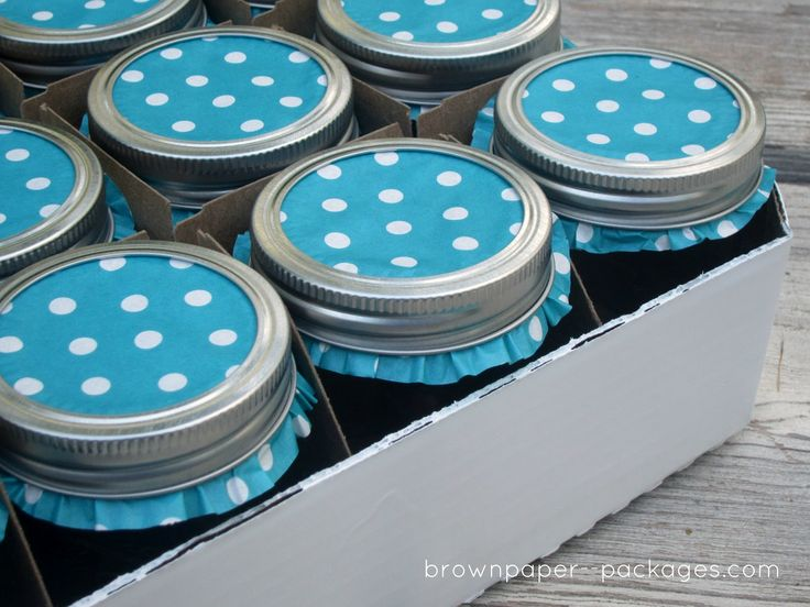 Use cupcake liners to cover tops of mason jars.  Cute when giving your canned goods as gifts.