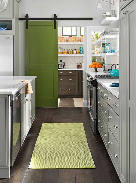 Our Normandy Oak hardwood flooring adds richness to the floor of Better Homes and Gardens 2014 Innovation Kitchen.