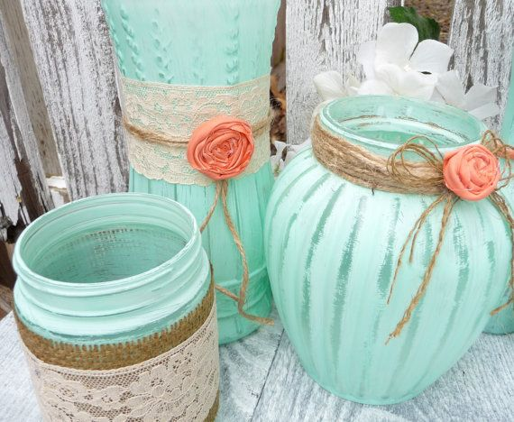 Burlap and Lace Mint Green and Coral SHABBY CHIC
