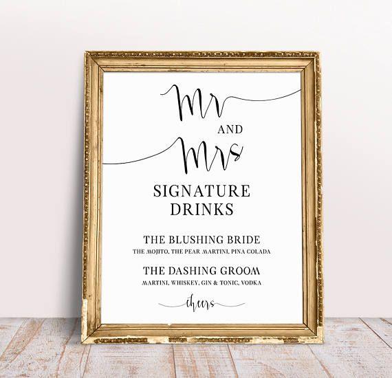 Mr And Mrs Signature Drinks, Wedding Drink Sign, Signature Drink Sign, Custom Wedding Signs, Drink Menu Wedding, Wedding Printables