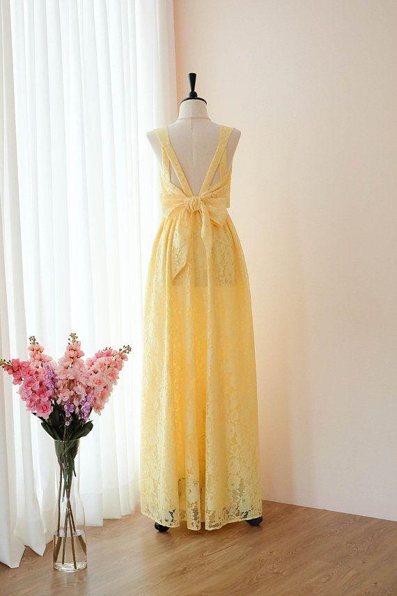 540db34aaf3 Yellow dress Yellow Lace Long Bridesmaid dress Wedding Dress Long ...