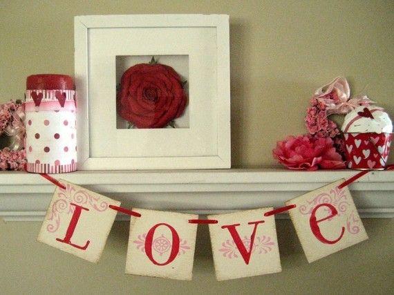 Valentine day decor love banner garland sign mantels for Decoration 4x4