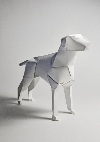 Paper Sculptur dog, Richard Sweeney