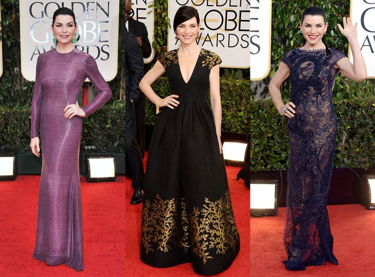 Julianna Margulies from 2015 Golden Globe Nominees' Past Looks  In Andrew Gn in 2012; In Emilio Pucci in 2014; in Naeem Khan in 2013.