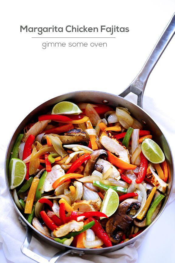 Margarita Chicken Fajitas | Gimme Some Oven. This recipe uses fresh-squeezed lime and orange juices in the marinade.