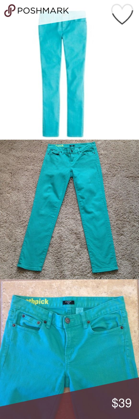"""J. Crew Toothpick Jeans J. Crew Toothpick Jeans that are a aqua, blue- greenish, color. These are 99% cotton, 1% spandex. Measurements are waist laying flat 14"""" across, Rise 7 1/2"""", Inseam 26"""" inches. My pictures are coming up just a bit darker than actual color. These were only worn twice. Good condition!!!👗 J. Crew Jeans Skinny"""