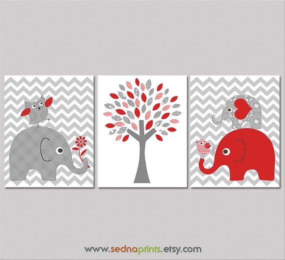 Red and grey elephant Nursery Art Print Set - 8x10 - Baby Room Decor, zig zag, chevron, tree, owl, love bird, baby elephant - UNFRAMED