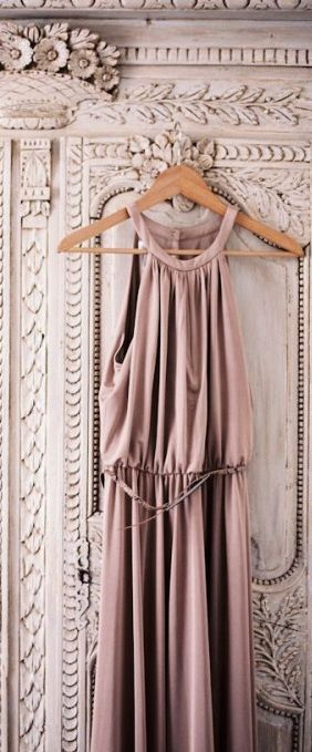 Satin Bridesmaids Dress In Dusky Pink - Image via Pinterest