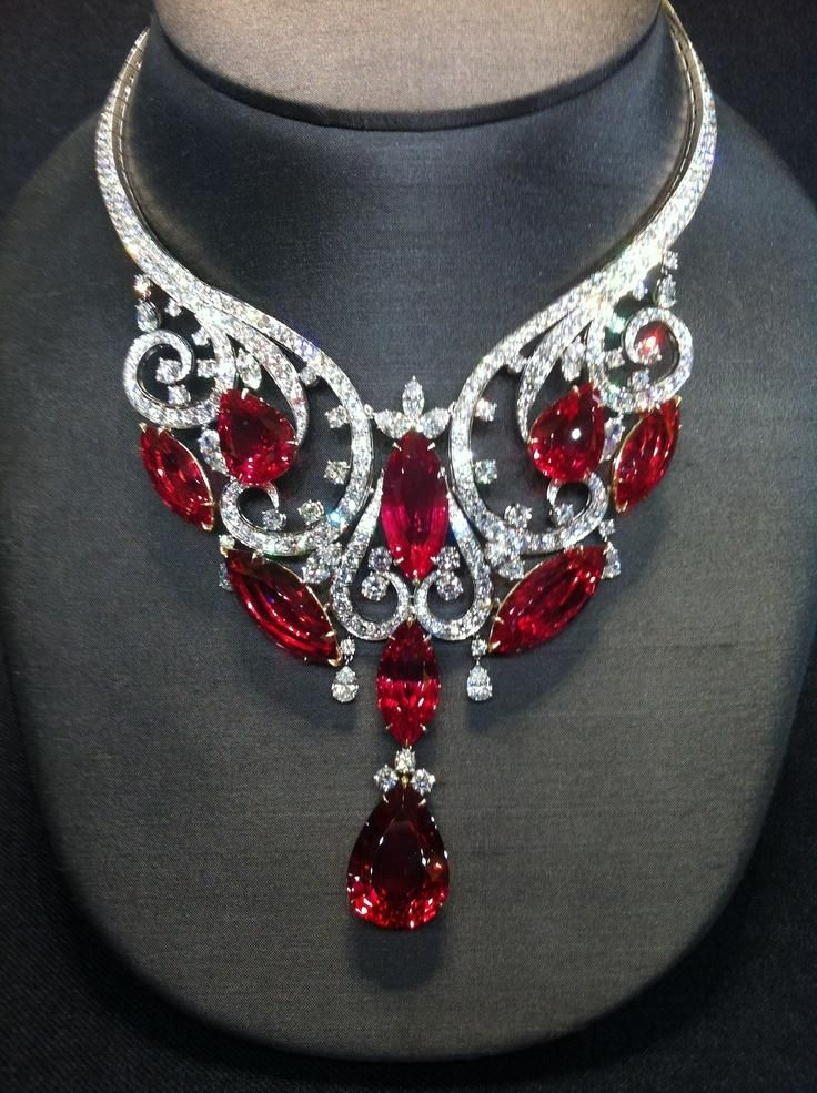 A necklace of rubies collected by zoey hot for Harry winston jewelry pinterest