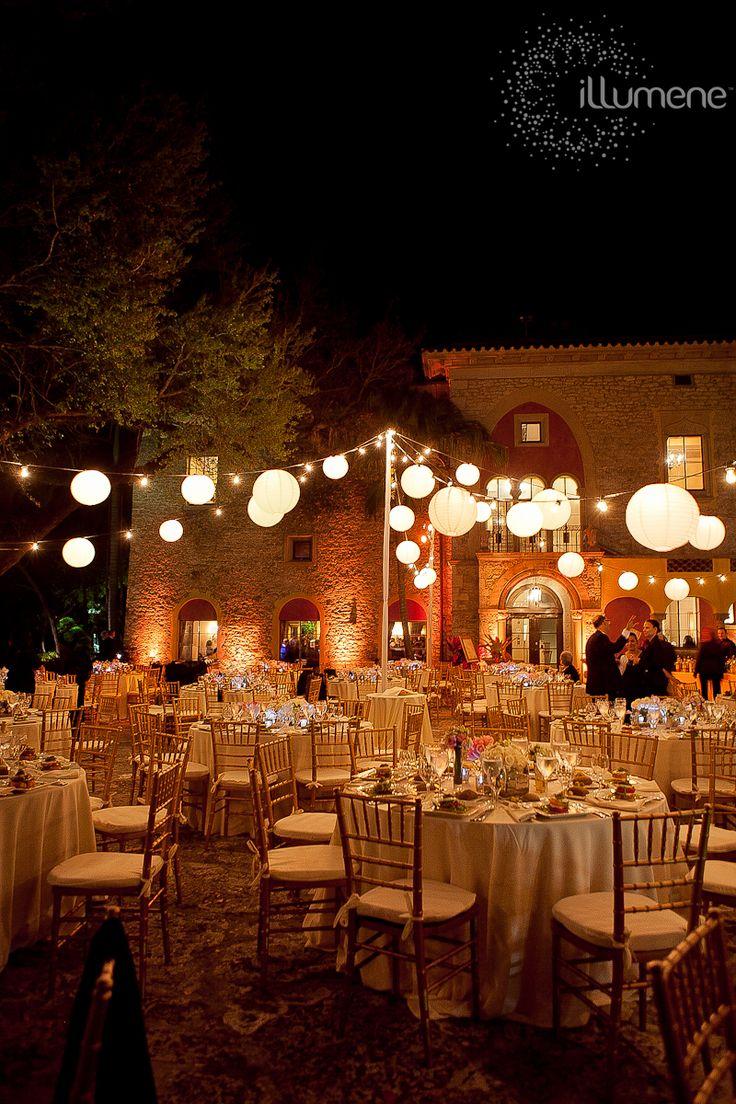 Lantern lighting in the courtyard at The Deering Estate