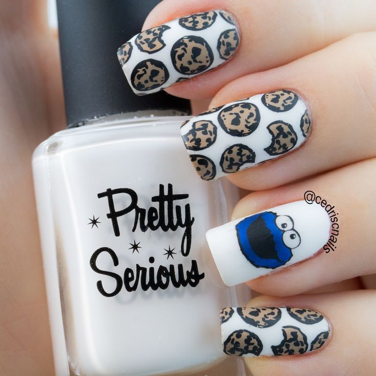 Cookie monster nail art. Polish is Pretty Serious Presence. Decals were made with Fab ur nails FUN11 and FUN20.