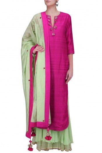 Nikasha Rani Pink Embellished Neckline With Mint Double Layer Sharara Pants #happyshopping#shopnow#ppus