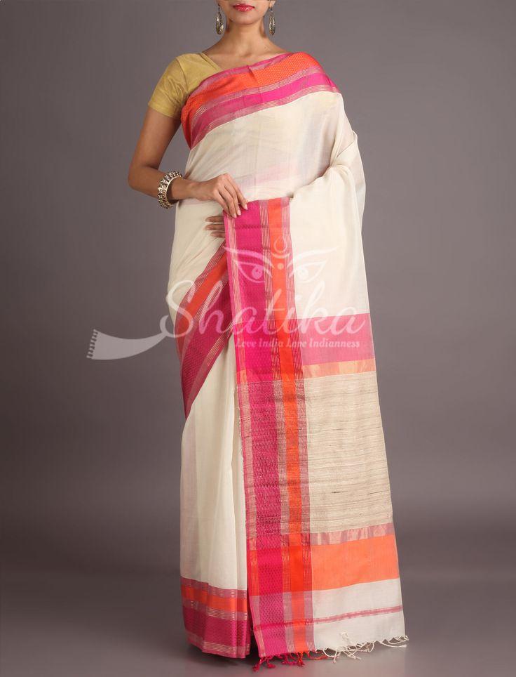 Sheetal Pure White With Colorful Border Maheshwari Silk Cotton Saree
