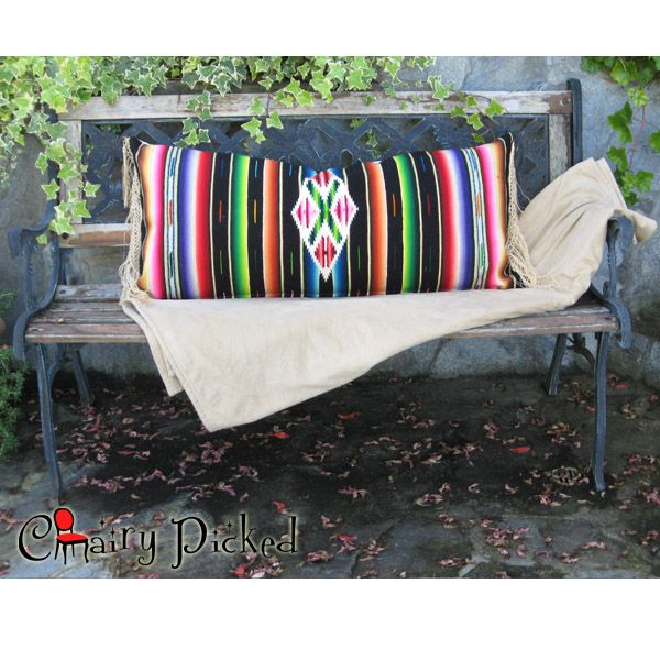 Vintage Handwoven Serape Table Runner Re Purposed Into A