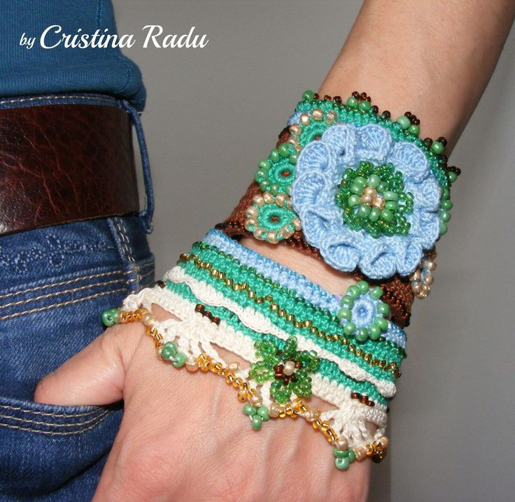Crochet boho chic bracelet , crochet cuff bracelet, crochet flower and beads, brown and blue crochet bracelet, wide bracelet for woman by raducristina on Etsy https://www.etsy.com/listing/237954562/crochet-boho-chic-bracelet-crochet-cuff
