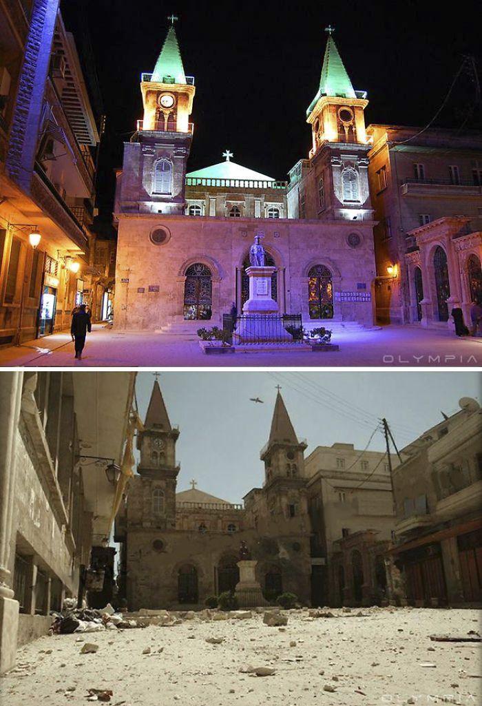Company 3: 10 antes y después de fotos que muestran cómo la guerra devastó la ciudad de Siria - Frawsy