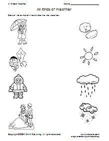 preschool weather matching printable worksheet
