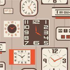 Tapete Orange Beige Braun Uhren Retro Uhr Fine Decor FD31047
