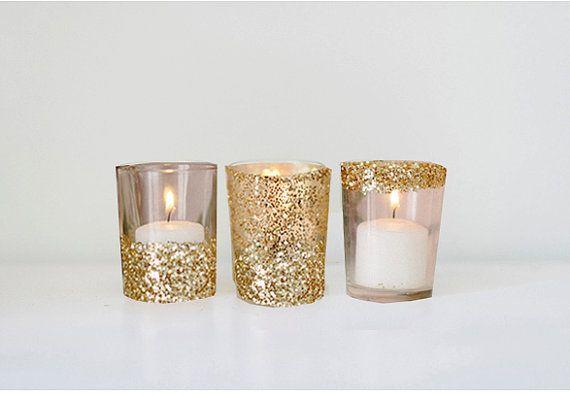 Set of 50 mixed Gold Glitter Glass Votive Holder - Custom Wedding Shower Decor Decoration - Elegant Fun Vintage