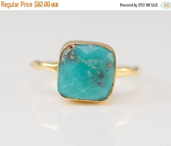 SALE - Turquoise Ring Ring - December Birthstone Ring - Gem Ring - Solitaire Ring - Gold Ring - Stackable Ring by delezhen on Etsy https://www.etsy.com/listing/169340901/sale-turquoise-ring-ring-december