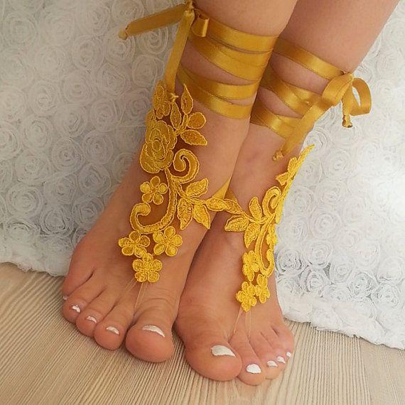 bridal anklet, yellow Beach wedding barefoot sandals, bangle, wedding anklet, free ship, anklet, bridal, wedding