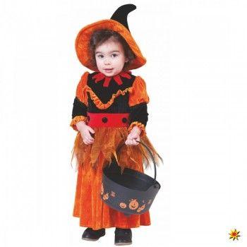 Kinderkostüm kleine Kürbis-Hexe, orange