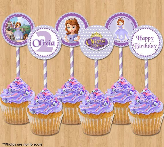 Princess Sofia Cupcake Toppers - Sofia the First Printable 2 inch Birthday Party Circle Favor Tags Cards - matches Invitation Decor Ideas on Etsy, $4.99