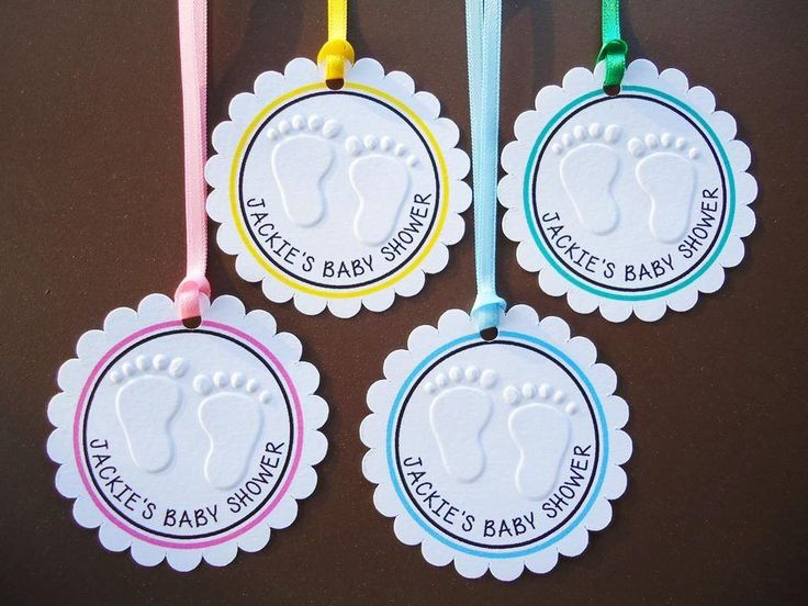 10 White Gift Tags Baby Shower Favour Bomboniere Embossed Personalised Circle b5