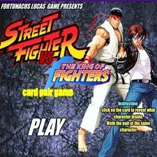 Street Fighter vs King of Fighters - Play Street Fighter vs King of Fighters game online. ( capcom, snk, nintendo, arcade, retro, card game, fight, karate, kung-fu, Martial arts, punch, kicks, card pairs, top memory game ).