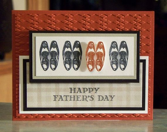 """Handmade Masculine Card - 5 1/2"""" x 4 1/4"""" Stampin Up Guy Greetings - Wingtip Shoes -Choose Birthday - Father's Day - You're a Classic"""