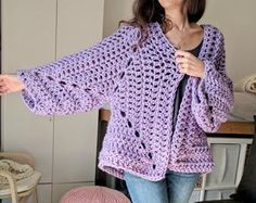 """If you've never crocheted a """"hexagon cardigan"""" before, you are in for a treat. This might just be my new favorite way to crochet cardigans! Two hexagons,"""