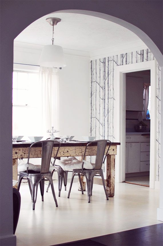 I love nubby twiglet 39 s dining room wood metal white for Grey dining room wallpaper
