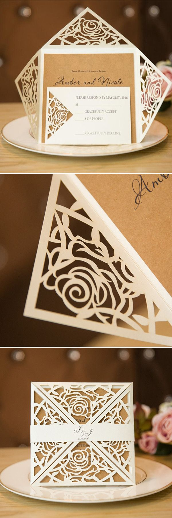 Unique Rustic Laser Cut Wedding Invitations SWWS013