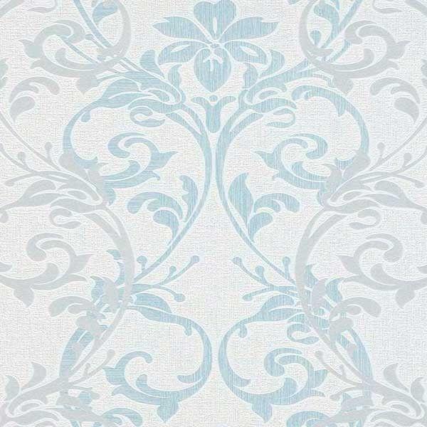 Papel pintado vintage damasco blanco azul y gris PDW9698308
