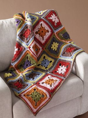 ... 8 Color Afghan - click on picture to get pattern details from lionbrand.com ...