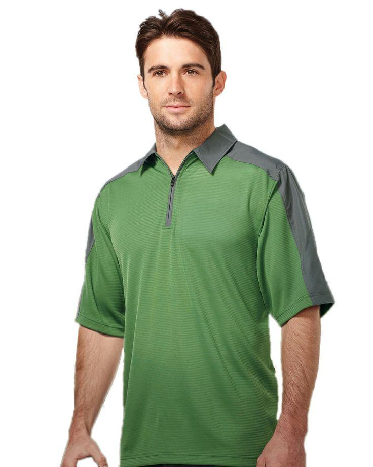 Mens 100% Polyester Polo jacquard knit 1/4-zip tri mountain K414