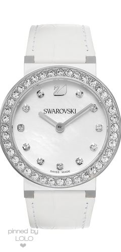 Swarovski Watch, Women's Swiss Citra Sphere White Calfskin Leather Strap | LOLO❤︎