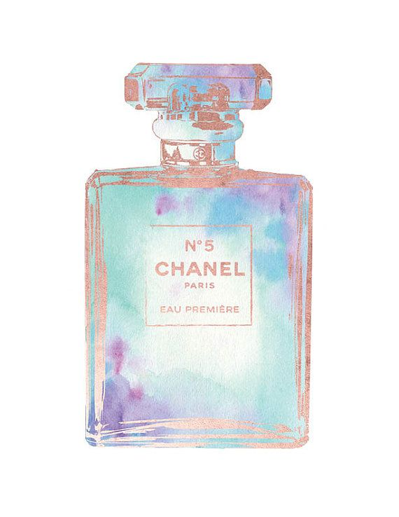 Chanel art print watercolor Rose gold effect by hellomrmoon