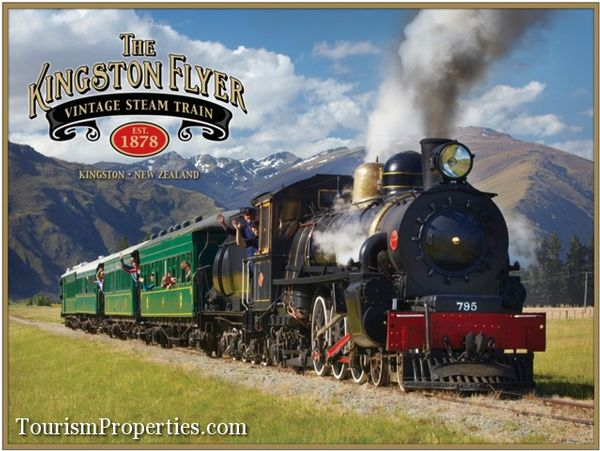 """Iconic tourism business for sale """"The Kingston Flyer Vintage Steam Train"""" near Queenstown, Central Otago, New Zealand 