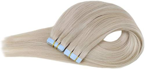 New Ugeat 18Inch Seamless Remy Tape Hair Extensions Real Human Hair 60 Platinum Blonde Tape Hair Extensions Skin Weft Hair 20Pcs 50Gram online shopping