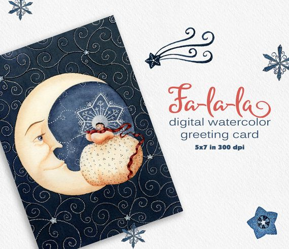 Christmas clipart watercolor clipart greeting by WatercolorNomads