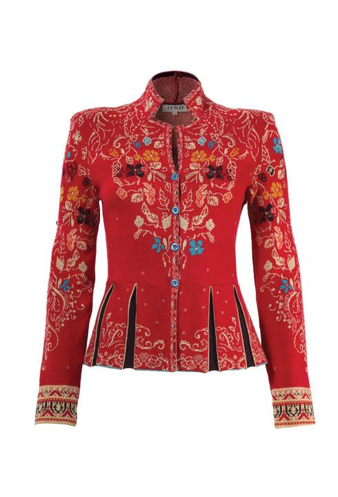 Strikingly beautiful, perfectly modeled jacket. Symmetrical jacquard pattern in contrasting colors, geometrical silhouette and pleats evoke a luxurious and romantic era of court life.