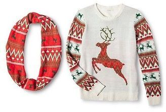 Fair Isle Reindeer Sweater with Scarf - Self Esteem - Shop for women's Sweater - IVORY Sweater
