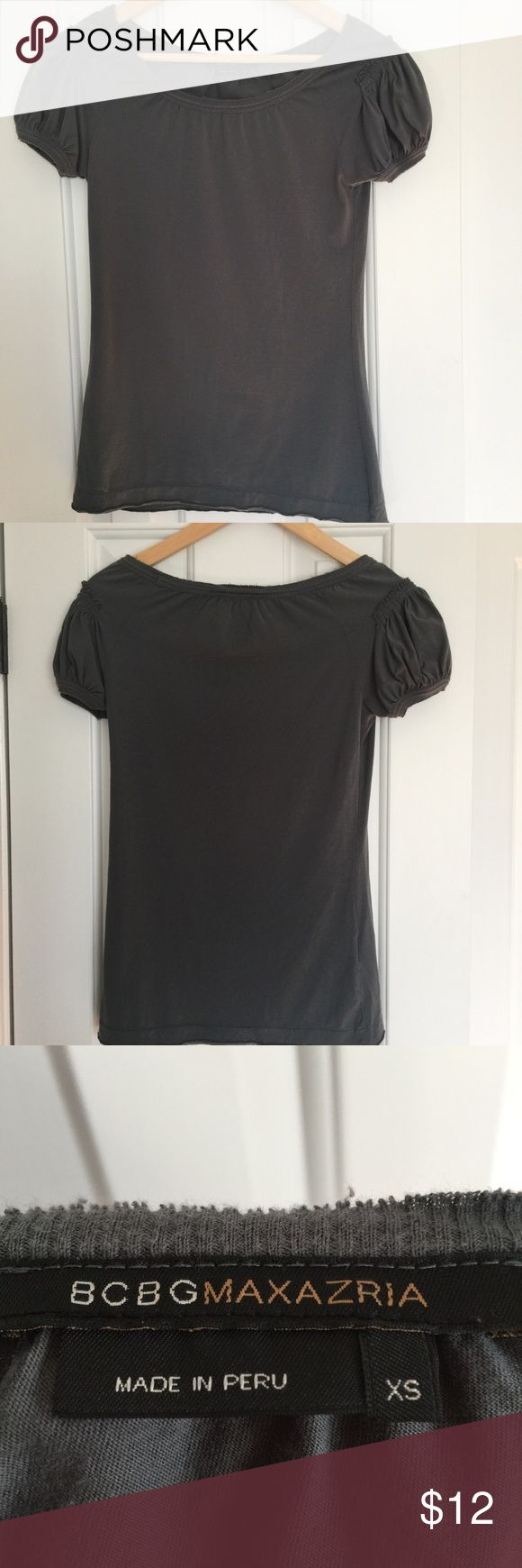 Top BCBGMaxAzria top in dark gray. Size XS. Good condition. BCBGMaxAzria Tops