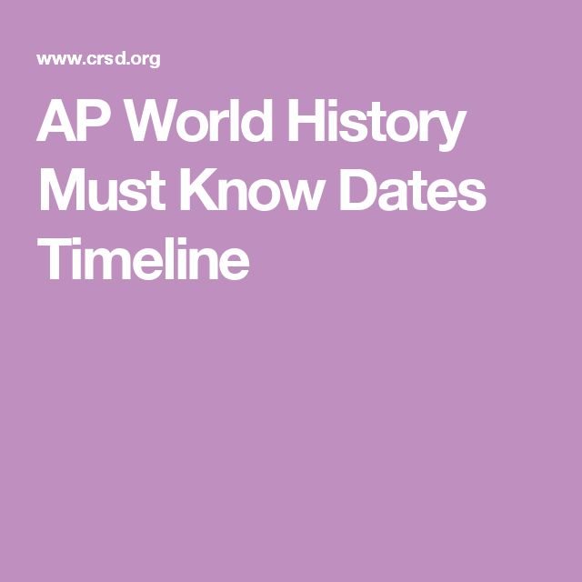 AP World History Must Know Dates Timeline