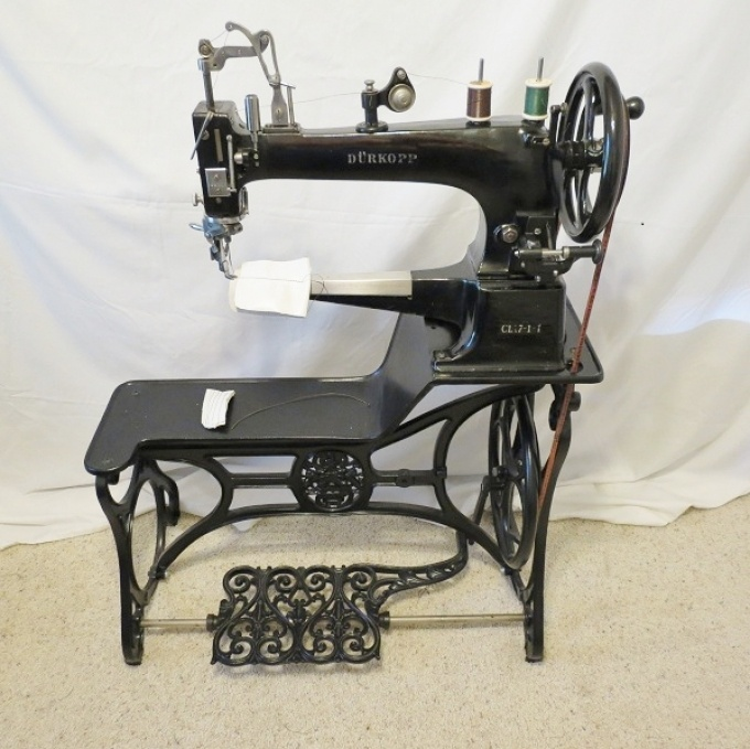 Antique Leather Treadle Sewing Machine $600