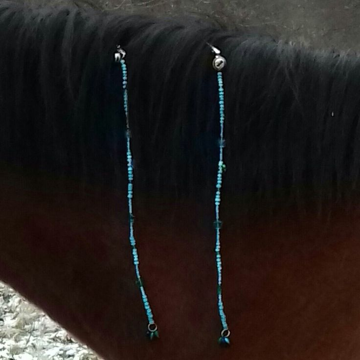 Delicate blue with stars mane bead ornaments horse