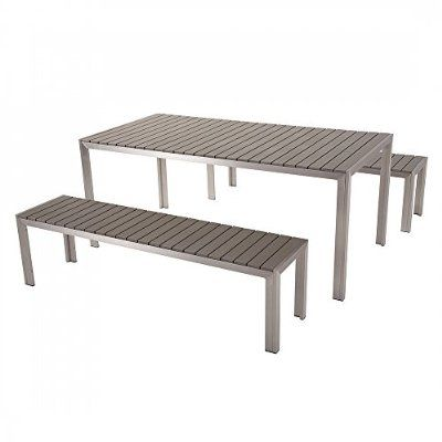 Modern Outdoor Dining Set   Table And Benches Poly Wood   NARDO Grey